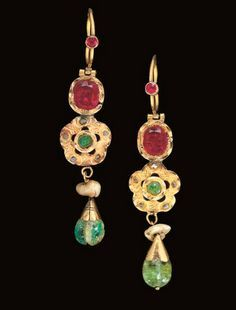 Morocco | Pair of ruby, diamond and emerald, gold earrings | 19th century | 22'800£ ~ sold (Apr '07)