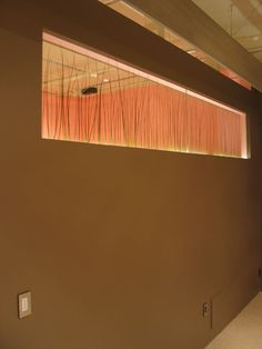 Reverse side of partition wall shows bear grass laminated between the two panels of glass.  White neon edge lights the glass panel.