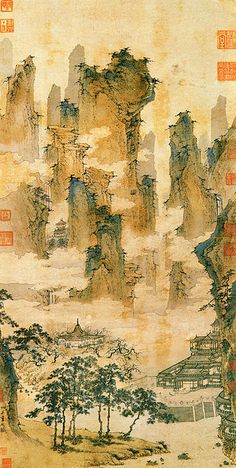 Pavilions in the Mountains of the Immortals (仙山楼閣図), hanging scroll, ink and light colors on paper by Qiu Ying (仇英; ca. 1495-1552 AD). He was born to a peasant family and studied painting under Zhou Chen in Suzhou. Though Suzhou's Wu School encouraged painting in ink washes, Qiu Ying also painted in the green-and-blue style. He painted with the support of wealthy patrons, creating images of flowers, gardens, religious subjects, and landscapes in the fashions of the Ming dynasty.