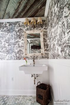 Small bath with BIG style!  Heathered Nest toile & barnboard bath reveal!