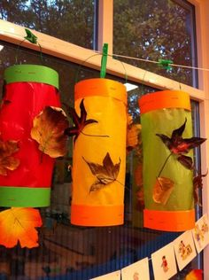 Lantern DIY using fall leaves the kids have collected. K Crafts, Easy Fall Crafts, Fall Crafts For Kids, Family Crafts, Thanksgiving Crafts, Diy For Kids, Arts And Crafts, Fall Preschool, Preschool Crafts