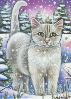 White Cat Snow Painting