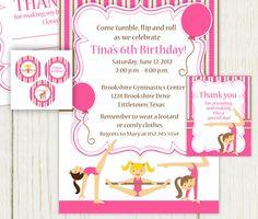 Gymnastics Party Invitation Printable  Printable by eloycedesigns, $12.00