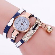 Wrap PU leather luxury dress woman blue fashion gift watch