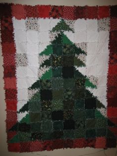 "I made this ""Oh! Christmas Tree""  rag quilt.  I also sell the pattern for this."