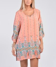 Another great find on #zulily! Coral Arabesque Three-Quarter Sleeve Shift Dress - Women #zulilyfinds