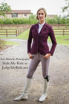style-my-ride:Style My Ride was honored to have the beautiful Caroline Roffman, a Nations Cup Dressage rider for the US Team, model for us during our WEF shoot. Caroline is proudly sponsored by Equiline. Caroline paired the beautiful light weight wine colored coat with Equilines' knee patch breeches in a gorgeous burgundy plaid. To change up the look for fun, Caroline donned our Style My Ride Vincerò boots in white, with with our exclusive interchangeable tops in black. Our boots are created…