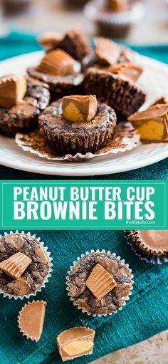 This mini Peanut Butter Cup Brownie Bites recipes is so quick and easy  to make in a pinch. There's no shame in making the brownies from mix  (don't worry, they'll still taste homemade)! The peanut butter cups make these even more delicious- they're perfe