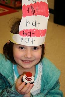 like the idea of writing rhyming words on the stripes... Dr. Suess Day