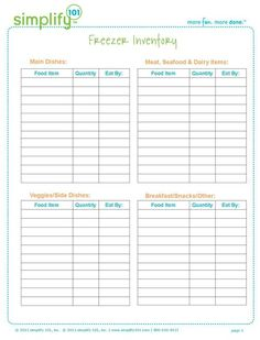 Freezer Inventory... I'm doing this over the weekend. Who knows what is hidden in the deep freeze! This chart will HELP!