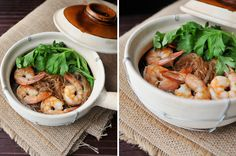 Goong Ob Woonsen   Shrimp and Glass Noodles in Clay Pot