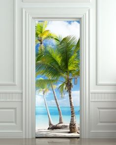 Pulaton Door Laminated Sticker Palms, Beach, Resort, Ocean, Sea Mural decole Film self-Adhesive Poster cm) Tropical Front Doors, Wallpaper, Landscape Walls, Sea Murals, Door Stickers, Vinyl Door Decal, Door Murals, Tropical Tile, Wall Stickers Murals