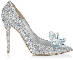 The Jimmy Choo 'Cinderella Slipper'.  This is an enchanting shoe which reimagines the iconic glass slipper. This beautiful creation has been developed with a base of the the iconic Jimmy Choo pointy toed pump, and then decorated with thousands of Swarovski crystals of varying sizes. A 'crystal cluster' is hand embroidered to the toe of the upper, leaving a truly magical finishing touch.