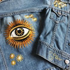15 ideas embroidery denim jeans embroidered jacket for 2019 Embroidered denim jacket - Denim blue - Ladies Diy Clothing, Custom Clothes, Clothing Patterns, Clothing Labels, Embroidered Denim Jacket, Embroidered Clothes, Denim Jacket Embroidery, Jean Embroidery, Embroidery Ideas
