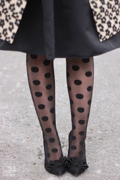 Topshop Leopard Borg Coat + Express high Waist Skirt + Hue Dotted Tights + Steve Madden Bowed Heels by Living In Color Print