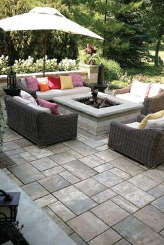fire pit, outdoor seating, outdoor living, outdoor fireplace ... - Patios With Fire Pits Designs