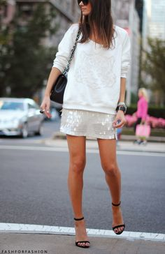 fashforfashion -♛ STYLE INSPIRATIONS♛: sparkle.  I wouldn't necessarily do the tiger sweatshirt with this skirt (or at all, really...just not my thing), but I would totally do a nice white cashmere sweater with a similar shape.