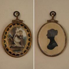 Georgian Silhouette & Painting Mourning Pendant Locket
