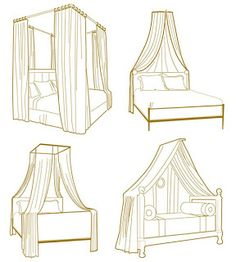 Bed canopy. The style on the bottom right could definitely work for me. Having the round pillows on the sides and some big/decorative pillows along the back would also make it feel couch-y if I need to use it for seating