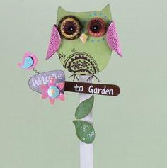 Wood Owl Garden Stake