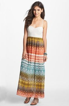 $52   Trixxi Print Chiffon Maxi Dress (Juniors) (Online Only) available at #Nordstrom