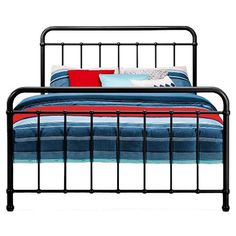 Simplicity and timeless design come together in this vintage antique style iron full size bed frame. Simple lines on the headboard and footboard are enhanced with decorative metal accents for a crisp, elegant look.