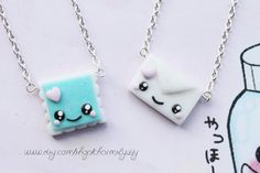 Kawaii stamp and letter best friends charm necklaces. Handmade from polymer clay, details in acrylic paint then coated in a fimo gloss glaze. Kawaii Polymer Clay Stamp and Letter Best Friends Fimo Kawaii, Polymer Clay Kawaii, Fimo Clay, Polymer Clay Charms, Polymer Clay Projects, Polymer Clay Creations, Polymer Clay Art, Clay Crafts, Polymer Clay Jewelry