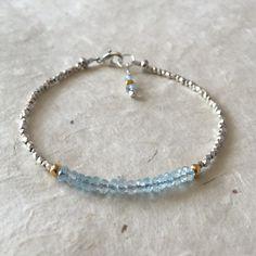 Something Blue, Sky Blue Topaz Karen Hill Tribe Thai Silver and Gold Vermeil Beaded Bracelet, Sundance Style, Bridal Bracelet, Boho bracelet by LoveandLightArtistry on Etsy