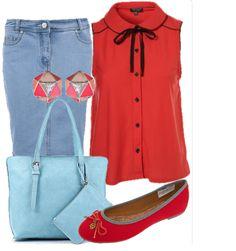 Голубая джинсовая юбка до колен, коралловая блузка без рукавов, голубая квадратная сумка, ярко малиновые балетки и оригинальные трехцветные серьги
