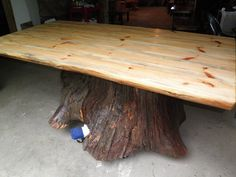 Custom Made Real Oak Tree Trunk Kitchen Dining Table - One Of Our Current Projects