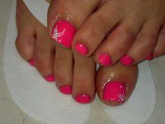 pedicure ideas pink pedicure Nail It . Pedicure Colors, Pedicure Designs, Pedicure Nail Art, Toe Nail Designs, Toe Nail Art, Nail Colors, Pedicure Ideas, Hot Pink Pedicure, Pink Toe Nails