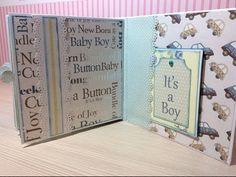 Tutorial mini album It´s a Boy - Parte 2 Mini Scrapbook Albums, Mini Albums, Baby Mini Album, Baby Bundles, Happy Mail, Memory Books, Scrapbooks, Baby Gifts, Baby Boy