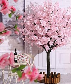 New Vicwin-One Artificial Cherry Blossom Trees Japanese Cherry Blossom Pink/Light Pink Fake Sakura Flower Indoor Outdoor Home Office Party (Light Pink, online shopping - Topusashoppingsites Peach Blossom Tree, Artificial Cherry Blossom Tree, Blossom Trees, Tree Decorations, Wedding Decorations, Fairy Lights In Trees, Christmas Lights Etc, Tree Wedding, Party Wedding