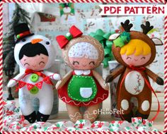 PDF Pattern Set of 3 Felt Christmas Ornaments: Snowboy
