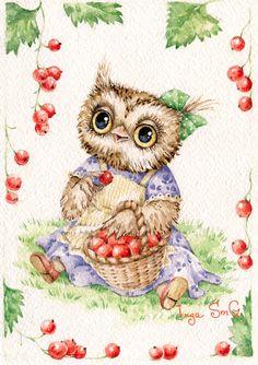 Сова летняя                                                                                                                                                                                 More Owl Photos, Owl Pictures, Owl Cartoon, Cute Cartoon, Owl Bird, Bird Art, Illustrations, Illustration Art, Nocturnal Birds