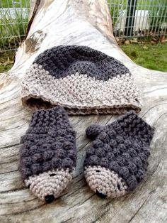 Crochet  mittens and hat set hedgehog mittens by PoppyBlueCrochet, £12.00