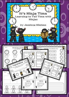 $ This ninja themed time unit contains numerous practice games, activities, and worksheets to help your students learn to tell time to the hour, half hour, quarter to, quarter after, and to the 5 minutes. This unit also contains lots of formative and summative assessment methods including math journal templates and an end of unit quiz. Also included is a cute ninja certificate of completion. All answer keys are included.