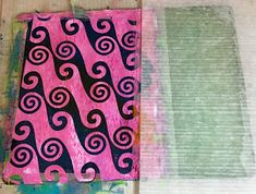 "Florence Turnour's Blog: Keeping cards clean while Gelli printing -- Step 1. Ink the plate. In this picture, I only inked about three quarters of the 8""x10"" plate because I was making 5""x7"" cards. I placed a stencil (black) onto the paint (pink)."