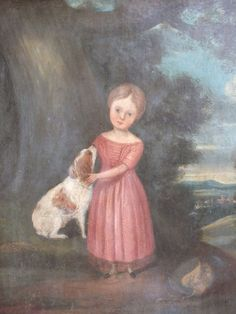 antique english springer spaniels | ... Art of Britain & Ireland » Naive Portrait of Young Girl with Spaniel