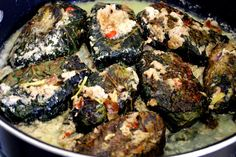 TUNA WRAPPED IN TARO LEAVES WITH SPICY COCONUT SAUCE