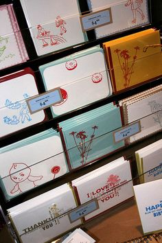 Fantastic card display idea!  No need to label each card's price individually!