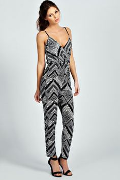 Ella Wrap Over Front Mono Cami Jumpsuit - Has youthful and use of dark color and below knee - length by The Style Genome Holiday Outfits, Holiday Clothes, College Fashion, Material Girls, Fashion Outfits, Womens Fashion, Passion For Fashion, Dress To Impress, What To Wear