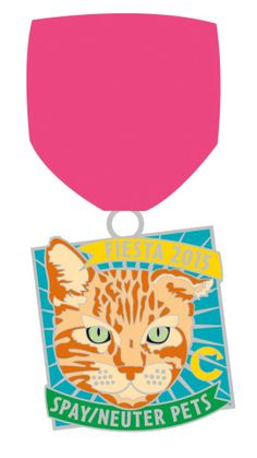 The Cannoli Fund's 2015 Fiesta San Antonio medal features Tar-Zhay the cat. $8 Purchase at the link! #fiesta2015 All proceeds go to support the programs of The Cannoli Fund for Dogs and Cats in #SanAntonio Texas. #spayneuter