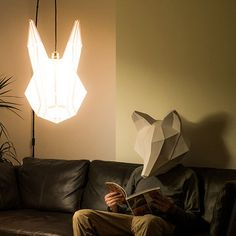 mostlikely's DIY paper lampshadesallow you to assemble your own3D menagerieof luminous lampshades, which double as masks if you'refeeling a little wild http://www.mostlikely.at/