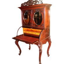 1860's American Rococo Rosewood Cylinder Desk ~  Bookcase Top  ~ Very Nice Smaller Size  ~ Attributed to J & J.W Meeks  ~ Magnificent Piece of Fine Art ~ Collector Piece ~ Master Artistry