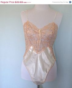 be6ae3a4b ON SALE Vintage 80 s Victoria s Secret Teddy White Satin and Ecru Lace Size  Medium.  17.17