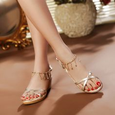 2014 genuine leather rhinestone nude women sandals wedges women shoes platform woman shoes US $32.77