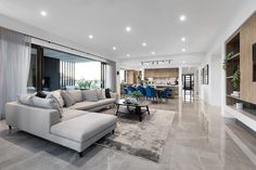 Living // The Designer by Metricon Berkshire, on display in Kialla, VIC. Open Plan Kitchen Living Room, Home Living Room, Living Room Designs, Room Kitchen, Dining Room, Tapis Design, New Home Designs, House Layouts, Home Interior Design