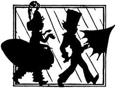 silhouette children boy girl rain umbrella Victorian