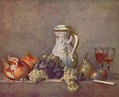 """Jean Siméon Chardin : Raisins et Grenade, 1763 (47+57 cm) huile sur toile, musée du Louvre. - Les toiles de Chardin, très vite acceptées à la Cour pour leur finesse et l'élégance de leur facture, sont surtout appréciables pour leurs qualités techniques appliquées aux sujets les plus humbles. Seul, un regard attentif, sensible à la poésie du quotidien, permet de découvrir la véritable valeur de l'oeuvre de """"ce simplificateur doucement impérieux""""."""